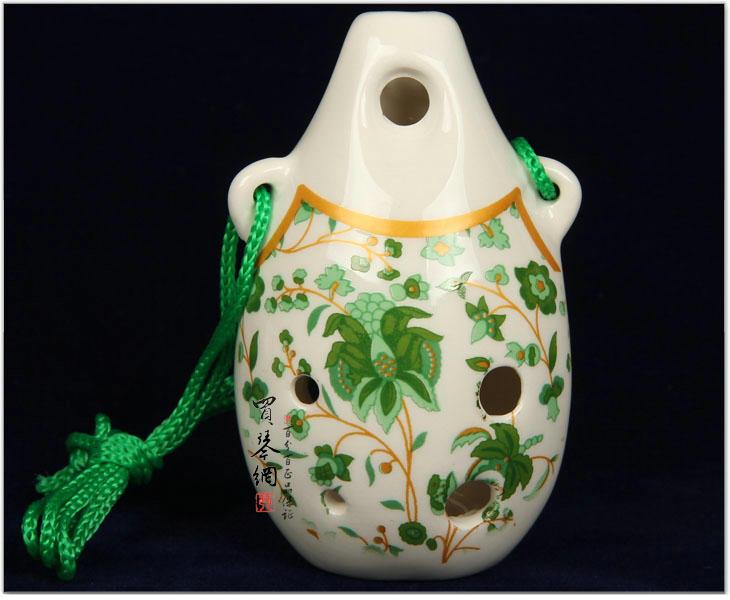 陶笛/陶笛 乐器6孔中音C调青花中音宝笛瓷笛赠入门教材